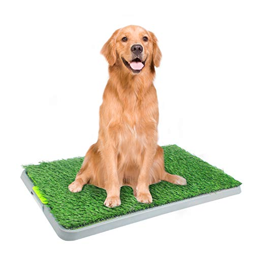 PAWISE Large Dog Pee Grass Training Mat, Artificial Dog Potty Grass for Indoor and Outdoor Use, 27