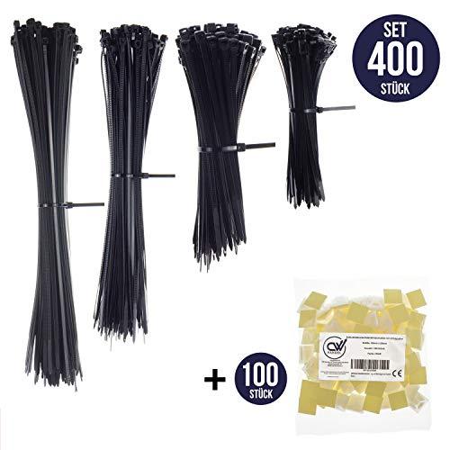 Premium Kabelbinder-Set (400 Stück), Davon 100 Wiederverwendbare, Wiederlösbare, Kabelbinder (100mm - 300mm) In Schwarz Mit 100 x Montagesockel, Klebesockel