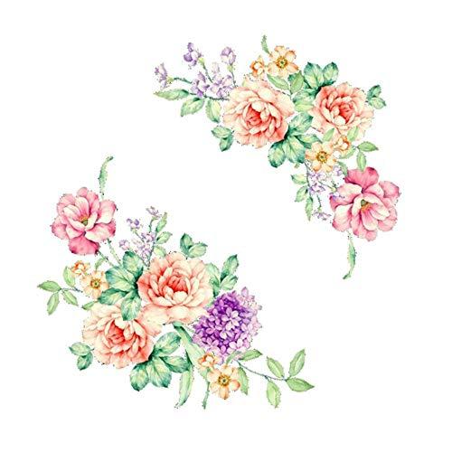 Muursticker met kleurrijke bloemen, 3D-sticker, voor koelkasten, schoonheid, pioenrozen, toilet, decoratie voor de badkamer, van pvc, afmetingen: ca. 20 x 30 cm.
