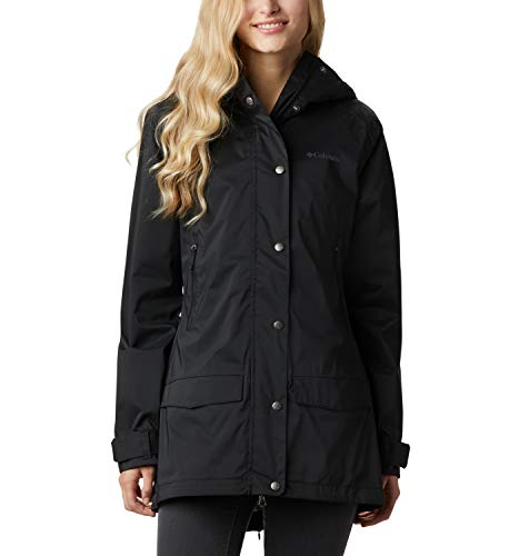Columbia Rainy Creek, Gabardina impermeable, Mujer, Negro (Black), XS