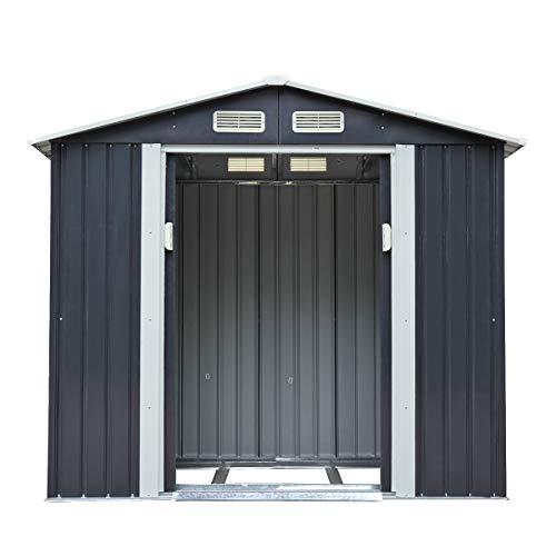 Sandinrayli 4.2' 7' Grey Outdoor Steel Garden Storage Utility Tool...