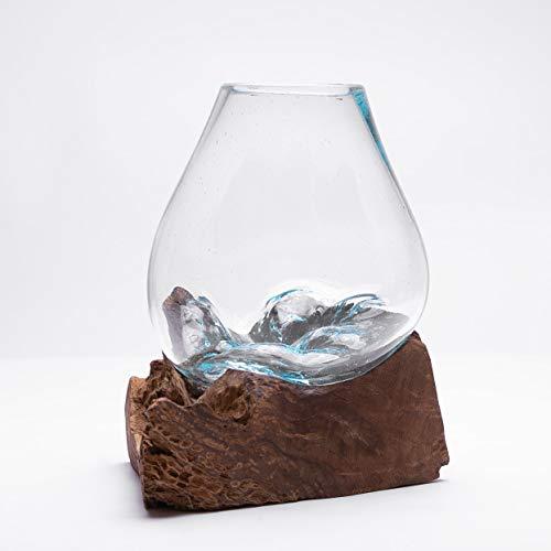 Rikmani - Deko Designer Vase aus Glas mundgeblasen auf Holzwurzel Blumenvase Wasserkaraffe Schmelzvase (Form-4)