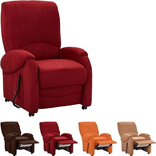 Cavadore TV-Sessel Trento mit manueller Liegefunktion  Fernsehsessel mit verstellbarer Rückenlehne und Fußstütze, Mikrofaser bordeaux, 75 x 107 x 96 cm