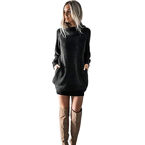Kobay-Damen Mode Hautfreundlich Langarm Rollkragenpullover Strickkleid Rollkragen Jumper Kleid Damen Mini Geschenke für Frauen