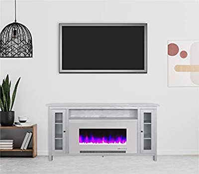 Cambridge Somerset 70-in. White TV Stand with Multi-Color LED Flames, Crystal Rock Display, and Remote Control, CAM6938-1WW Electric Fireplace