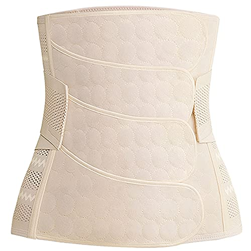 WANYIG Postpartale Unterstützung Bauch 4 Beiträge Postpartale Bauch Wrap Gürtel Schwangerschaft Recovery Girdle Stützgürtel Bauchband Bauchgurt Stützt Taille Rücken und Bauch (Beige, M)