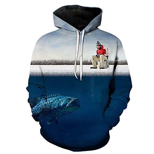 Sudaderas con Capucha Divertidas De Peces Tropicales 3D Fisherman Hombres Mujeres Sudaderas con Capucha De Manga Larga Sudaderas con Capucha De Pesca 3D Streetwear Hip...