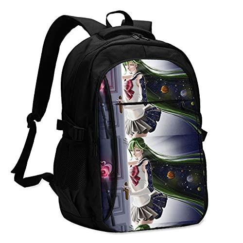 Anime Sailor Moon Mochila de impresión USB, mochila para estudiantes, bolsa de viaje, mochila con puerto de carga USB, tela 100% poliéster