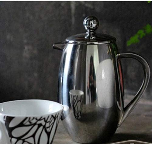 750ml Stainless Steel French Press Pot Drum Shape Filter Coffee Plunger Anti-scald Design