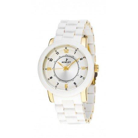 Reloj NOWLEY 8-5243-0-5 - Reloj Mujer con Correa de Caucho Blanco y Cierre de Seguridad