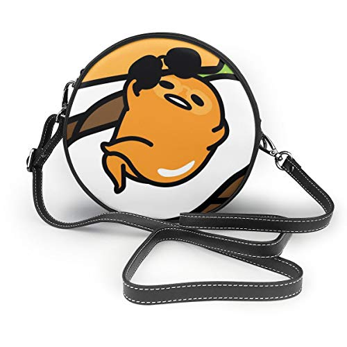 Umhängetaschen Runde Damentaschen Gudetama In His Egg Crossbody Leather Circle Bag