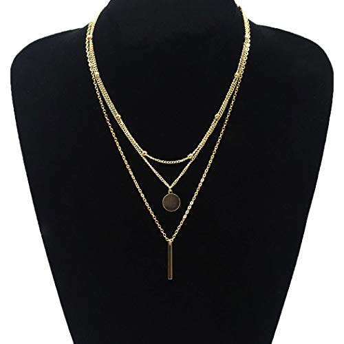 Jovono Multilayered Beaded Sequin Bar Necklaces Boho Necklace Fashion Chain Jewelry for Women and Girls (Gold)