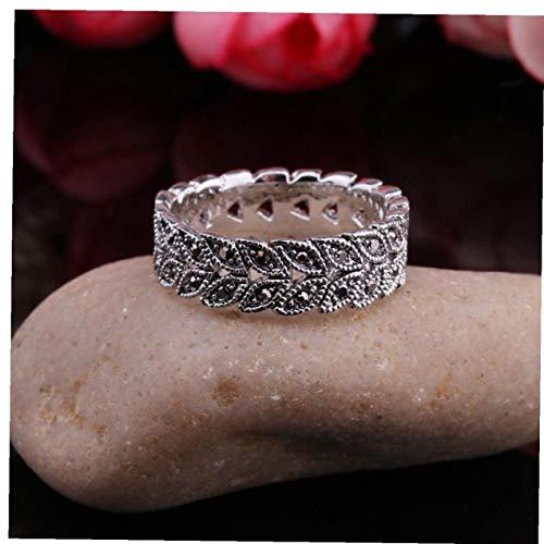Ruluti Plata De La Vendimia Antigua Marcasita Estilo De La Hoja De La Vid Banda De Anillo W Diamantes Gunmetal / (7)