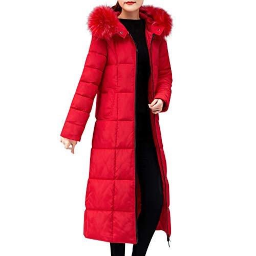 iHENGH Damen Oberbekleidung Faux Pelz mit Kapuze Mantel Lange Baumwolle aufgefüllte Jacken Taschen Mäntel(Rot, 4XL)
