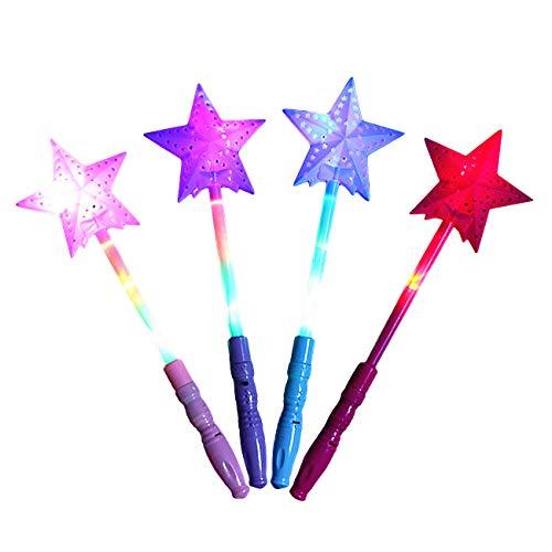 EZSTAX Divertida Varita Mágica para Niños 4 Piezas LED Juguete de Estrella de Cinco Puntas Pentagrama Iluminada