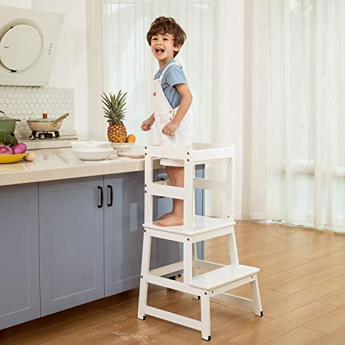 Küchenhelfer Tritthocker für Kinder und Kleinkinder mit Sicherheitsschiene Kinder Stehender Turm für Küchentheke, Mütterhelfer Kinder Lernhocker, Massivholzkonstruktion (Weiß)