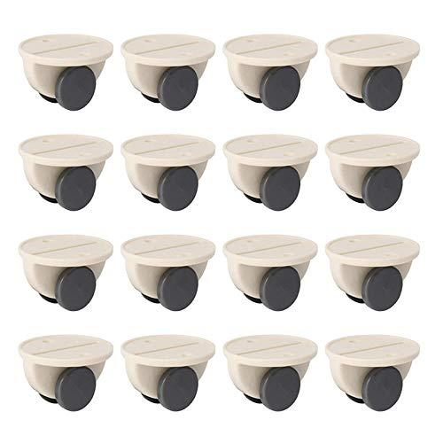 Huante - Lote de 16 ruedas adhesivas para almacenamiento de polea, muebles, ruedas fijas y ruedas antideslizantes para casa o boote, color blanco