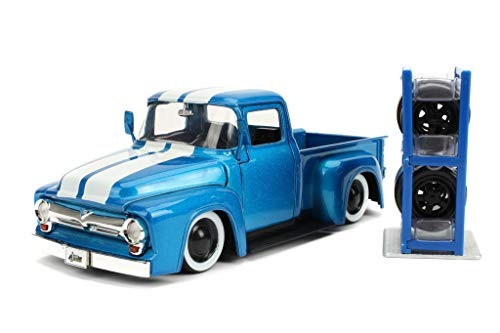 1956 Ford F-100 Pickup Truck Metallic Light Blue with White Stripes and Extra Wheels Just Trucks Series 1/24 Diecast Model Car by Jada 31541