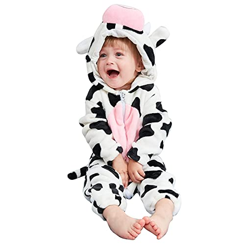 Binxory Mono unisex con capucha para bebé recién nacido de franela para disfraz de animales de 0 a 24 meses, Vacas, 6-12 Meses