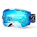 SGTTX Ski Goggles Double Layers Windproof Anti Fog UV400 Protective Skiing Glasses OTG Interchangeable Lens Helmet Compatible Snowboard Goggles for Men Women and Youth