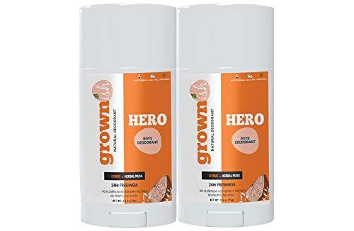 Fresh Kids Deodorant for Boys Ages 6 + (HERO) – SET OF 2 – High Performance – Aluminum FREE – Natural Deodorant