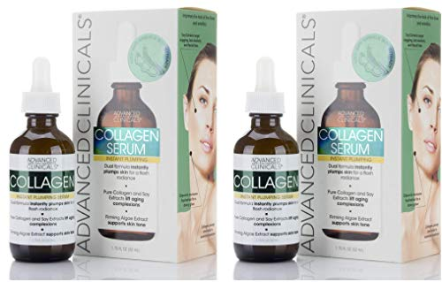 Advanced Clinicals Collagen Facial Serum - Reduces the appearance of wrinkles, dark circles, and fine lines. (Two - 1.75oz)