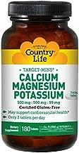 Country Life Target-Mins Calcium Magnesium Potassium 500mg/500mg/99mg - Cardiovascular Health & Calcium Utilization Support Supplement - Gluten-Free, Vegan, Kosher - 180 Tablets
