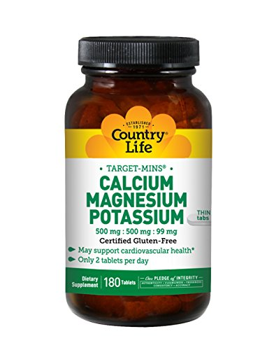 Country Life Target-Mins Calcium Magnesium Potassium 500mg/500mg/99mg - Cardiovascular Health & Calcium Utilization Support Supplement - Gluten-Free, Vegan, Kosher - 180 Tablets
