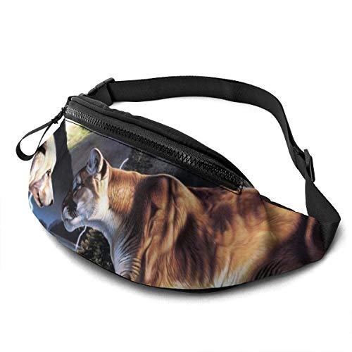 AOOEDM Wolf Tiger Running Belt Riñonera Moda Riñonera Bolsa para Hombres Mujeres Deportes Senderismo