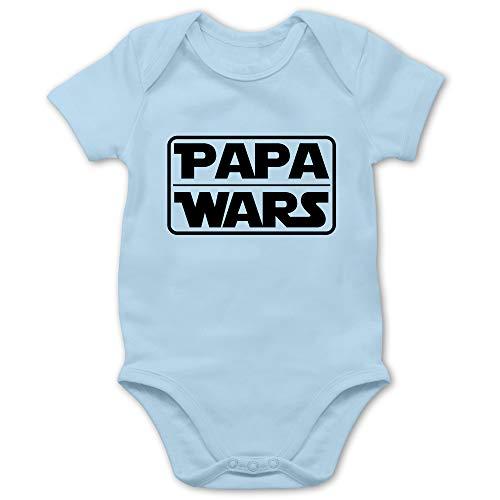 Shirtracer Sprüche Baby - Papa Wars - 6/12 Monate - Babyblau - Body lustig - BZ10 - Baby Body Kurzarm für Jungen und Mädchen