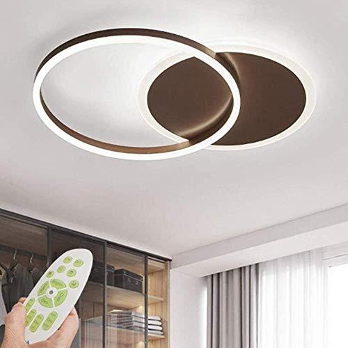 Lámpara de techo LED Regulable Luz de anillo regulable Lámpara de techo de diseño de sala de estar moderna con modo de control remoto Lámpara Lámpara de metal acrílico para dormitorio-marrón