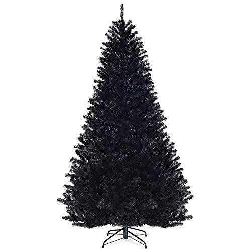 Goplus 7.5ft Unlit Black Christmas Tree, Halloween Tree with 1258 Branch Tips Metal Stand, for Holiday Carnival Party Decorations