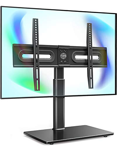 FITUEYES Universal TV Stand/Base Tabletop TV Stand with Swivel Mount for 32 to 65 inch Flat Screen TV Height Adjustable,Tempered Glass Base TT105202GB