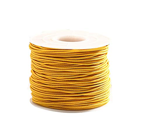 0.8mm 100M Stretch Elastic Cord String Rope Beading Threads Prayer Beads Elastic Thread for DIY Jewelry Making 1 Roll (Yellow)