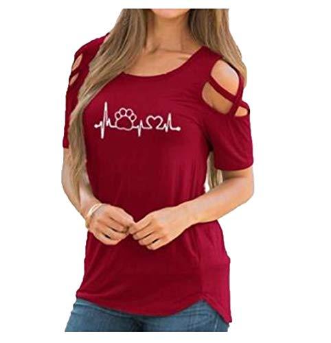 Verano de Las Mujeres del Cuello de O Manga Corta Camiseta Atractiva Floja Camiseta Feminina Rojo Camisetas Red Radio Waves S