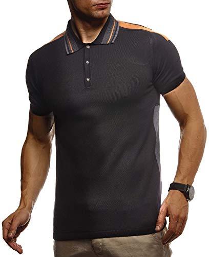 Leif Nelson Herren Sommer T-Shirt Poloshirt Slim Fit aus Feinstrick Cooles Basic Männer Polo-Shirt Crew Neck Jungen Kurzarmshirt Polo Shirt Sweater Kurzarm LN7340 Schwarz Large