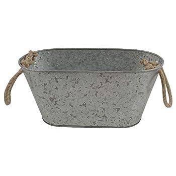 NIRMAN Rustic Galvanized Metal Handcrafted Storage Bin with Rope Handles Storage Bucket for Home & Kitchen Organizers.