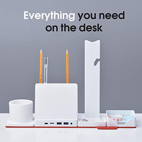 Combo Office HUB STEALTHO Desk Organizer - MacBook USB C Charger - iPhone QI Wireless Charger 10W - USB Type C HUB to HDMI USB 3 Micro SD Reader, includes Power Adapter 60W Thunderbolt 3 Cable (White)