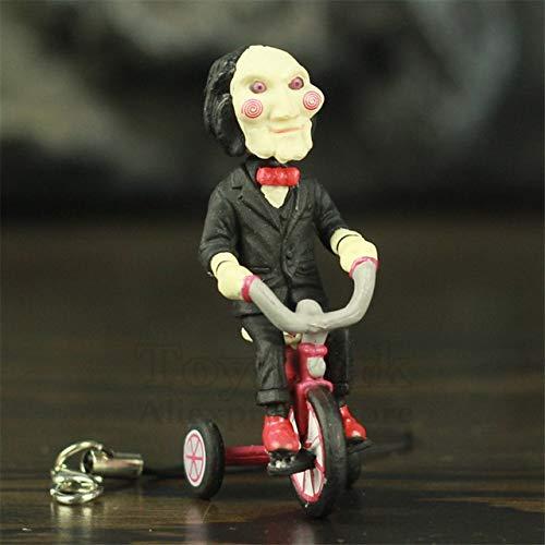 Weichuang Einrichtungsgegenstände Klassische Horror Film Saw Billy Jigsaw 5cm Abbildung mit Bike Box Phone Bag Schlüsselanhänger Film Modell Spielzeug Figur Puppe PVC-Einrichtung (Color : B)