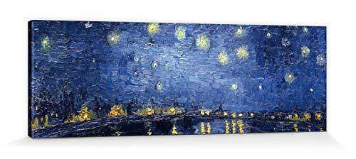 1art1 Vincent Van Gogh - Noche Estrellada sobre El Ródano, 1888 Cuadro, Lienzo Montado sobre Bastidor (150 x 50cm)