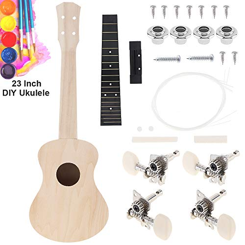 YiPaiSi 23 Inch Ukulele DIY Kit, Hawaii Ukulele Kit, Make Your Own Ukulele, Basswood 4 String Ukulele Set, Hawaii Ukulele Kit, Concert Ukulele...