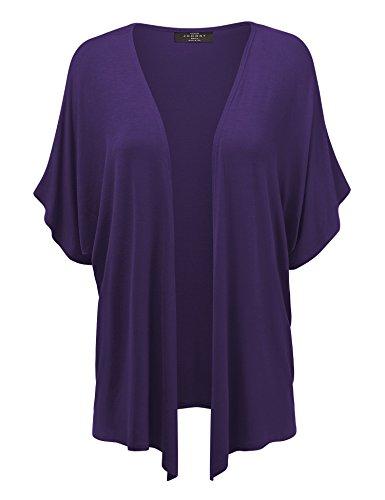 MBJ Womens Short Sleeve Dolman Cardigan XXL Dark_Purple