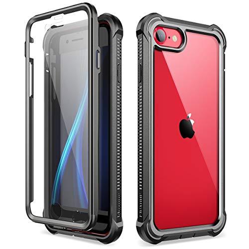 Dexnor Kompatibel mit iPhone SE 2020 hülle/iPhone 8/7 hülle (4.7''), 360-Grad-Ganzkörper Schutzhülle gegen Stöße (Release 2020) mit eingebauter Displayschutzfolie - Schwarz