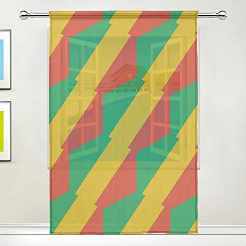 SD3DPrint Congo Brazzaville Flagge Fenstervorhang, durchsichtig, 140 x 198,1 cm, Gaze-Vorhang für Wohnzimmer, Schlafzimmer, Heimdekoration, Polyester, Multi, 55x78x1(in)