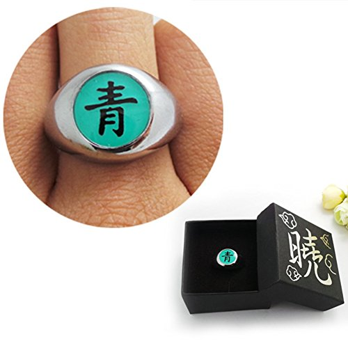 Loheag Clinor Naruto Akatsuki Ringe aus Metall für Cosplay und Sammlung (青 - Deidara)