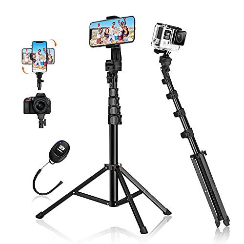 Selfie Stick Tripod, BlitzWolf 63' Aluminum Phone Tripod Stand with Wireless Remote & 360° Rotation Phone Holder, Tripod for iPhone 12 Pro Max/11/XS Max/X/8/7, Galaxy S20, Android, DSLR, Action Camera