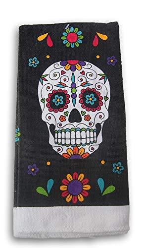 Seasonal Decor Día de Los Muertos Day of The Dead Themed Kitchen Towel - Sugar Skull - 15 x 25 Inches