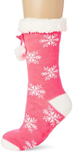 Brave Soul 468SNOWB Calcetines de estar por casa, rosa, talla única para Mujer