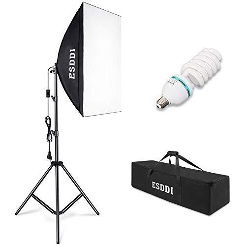 ESDDI Softbox Dauerlicht Fotostudio Set Tageslicht Studioleuchten Kit Fotolicht Soft-Box mit 85W Fotolampe Stativ Tragetasche für Studio-Porträts, Produktfotografie, Modefotos, usw.