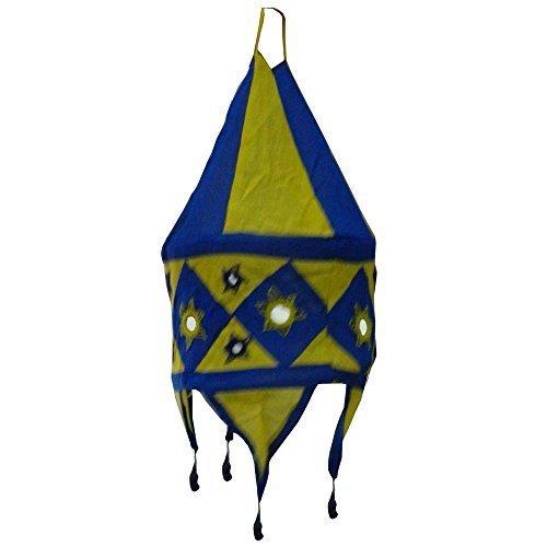 Indischer Lampenschirm blau-gelb 48cm Baumwolle Dekolampe Orient Hängelampe